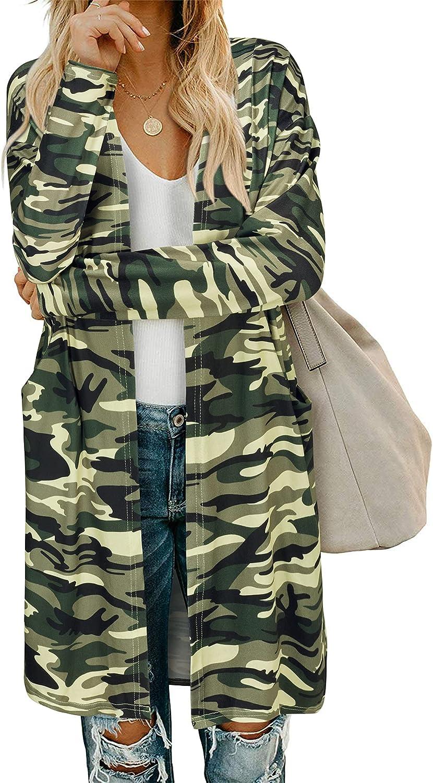 LAISHEN Women's Open Front Cardigan Long Sleeves Leopard Print Lightweight Outwear with Pockets