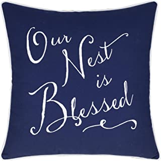 EURASIA DECOR DecorHouzz Our Nest is Blessed Pillowcases Embroidered Pillow/Cushion Cover Decorative Pillow Cover New Wedding Anniversary New Home Birthday Gifts (Navy)