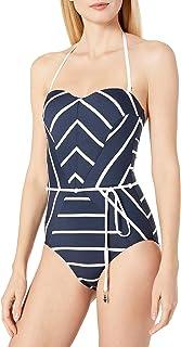 Seafolly Castaway Stripe Bandeau Maillot Costume Intero Donna