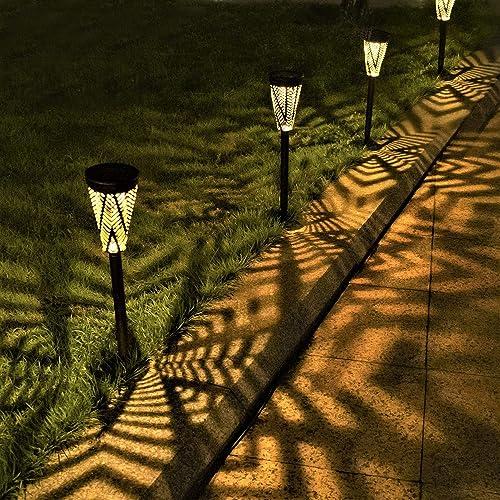 LeiDrail Solar Pathway Lights Outdoor Garden Metal Solar Powered Walkway Warm White LED Landscape Lighting Waterproof...
