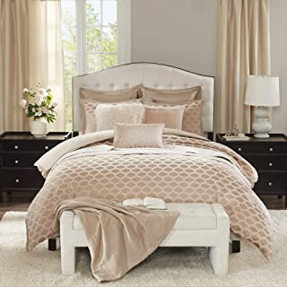 Madison Park Signature Romance Queen Size Bed Comforter Duvet 2-In-1 Set Bed In A Bag - Pink Blush , Jacquard – 8 Piece Bedding Sets – Ultra Soft Microfiber Bedroom Comforters