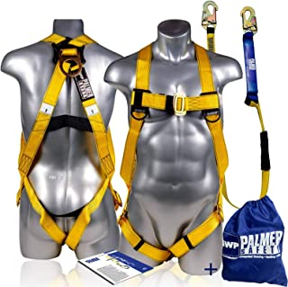 Palmer Safety Fall Protection Universal Safety Harness w/Detachable 6' Single Leg Lanyard I Shock Absorber Lanyard I OSHA/ANSI Fall Arrest Kit I Ideal for Industrial & Construction Use (Pack of 2)