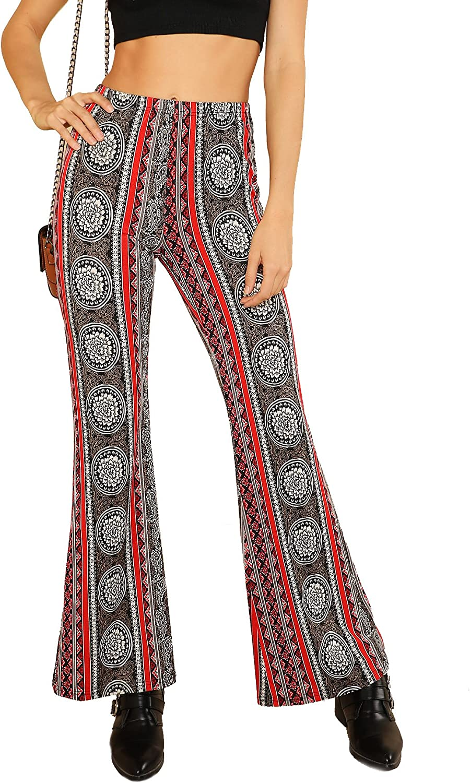 SweatyRocks Women's Boho High Waist Wide Leg Long Palazzo Bell Bottom Pants