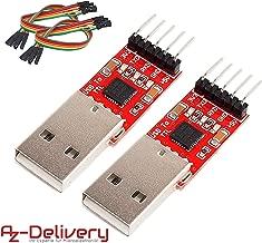 AZDelivery 2 x CP2102 USB a TTL convertidor HW-598 para 3,3V y 5V con cable puente Jumper para Arduino con eBook incluido