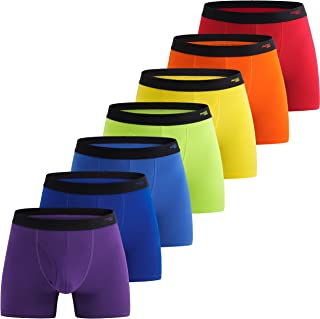INNERSY Mens Boxer Shorts Cotton Open Fly Underwear Trunks Multipack Rainbow Sports Briefs Pack of 7