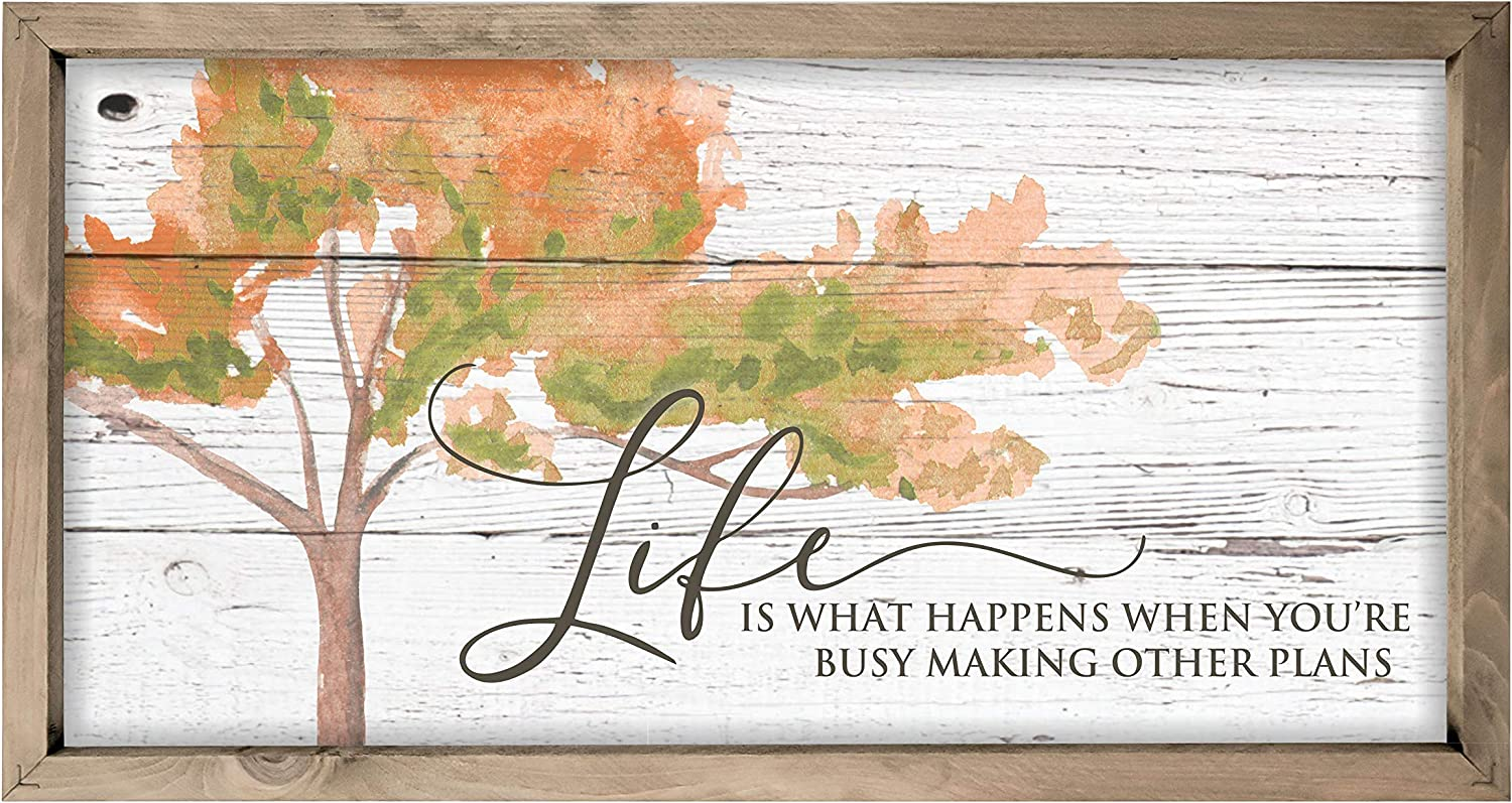 Life Is What Happens Framed Wood 18x36 Farmhouse Sign 日時指定 Wall 休み