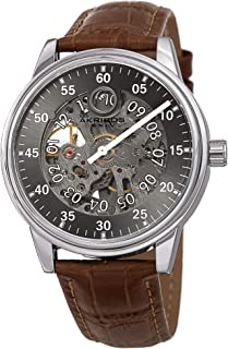 Akribos Automatic Mechanical Men's Watch - Unique Time Reading Hour Window & Long Minute Hand On Skeletonized Dial with Genuine Embossed Crocodile Pattern Leather - AK1111
