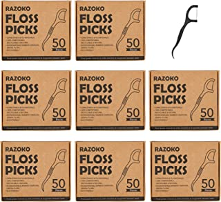 Natural Dental Floss Picks High Toughness Charcoal Toothpicks Sticks-Vegan,Eco-Friendly Sustainable Flossers for Teeth Cleaning (400 Count)
