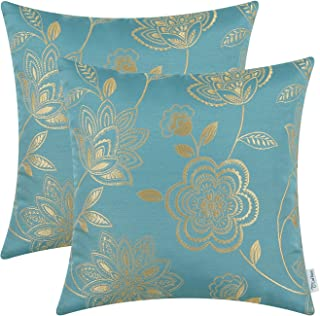 CaliTime Pack of 2 Cushion Covers Throw Pillow Cases Shells for Couch Sofa Home Decoration Dahlia Floral 18 X 18 Inches Teal Gold