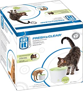 Catit 55600 Fresh & Clear Vattenfontän för Katter, Vit, Grön
