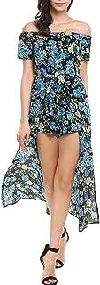 Women's Floral Print Off The Shoulder Summer Split Maxi Romper Dress