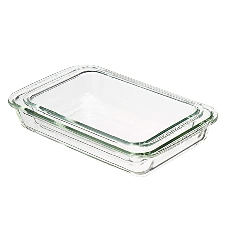 Amazon Basics Oven Safe Glass Safe Casserole Baking Dishes, Set of 2, Rectangular 3L and 2L