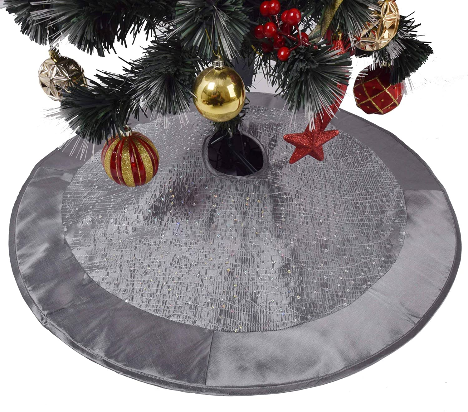 SOOFYLIA 36 inches Blue Sparkle Glitter Sequin Center Faux Silk Satin Border Christmas Tree Skirt Deluxe Christmas Decoration Indoor Outdoor Holiday Party Decor