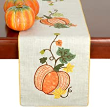 Grelucgo Halloween and Thanksgiving Holiday Lined Table Runners, Fall Autumn Harvest Decorations, Embroidered Pumpkins, Rectangular 14×90 Inch