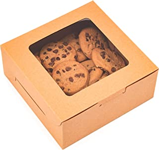Juvale Pastry Box with Window (6 x 6 x 2.5 in, Kraft Paper, Pack of 50)