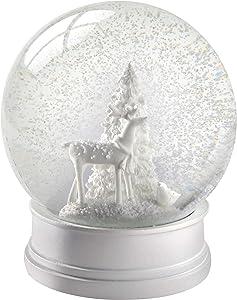 WeRChristmas– Sfera di Vetro con Neve, Renna, Decorazione Natalizia–13cm, Bianco