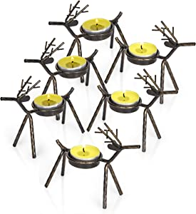 "Besti Reindeer Tealight Candle Holders - Set of 6 Standing Iron Metal Christmas Decor with Rustic Bronze Finish - Durable and Rust-Proof Holiday Table Centerpiece and Display - 4.75""W x 1.87""D x 5""H"