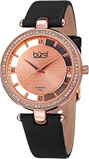 Swarovski Crystal Studded Watch - 4 Genuine Diamond Markers, See Through and Sunray Dial On Satin Over Leather Women's Watch - BUR104