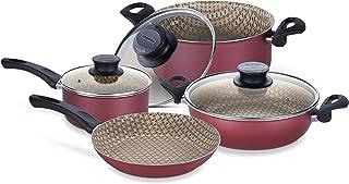 Tramontina Paris Line Red 7 Piece Cookware Set | Large Frying Pan, Casserole Dish, Skillet, Sauce Pan & Nylon utensils.