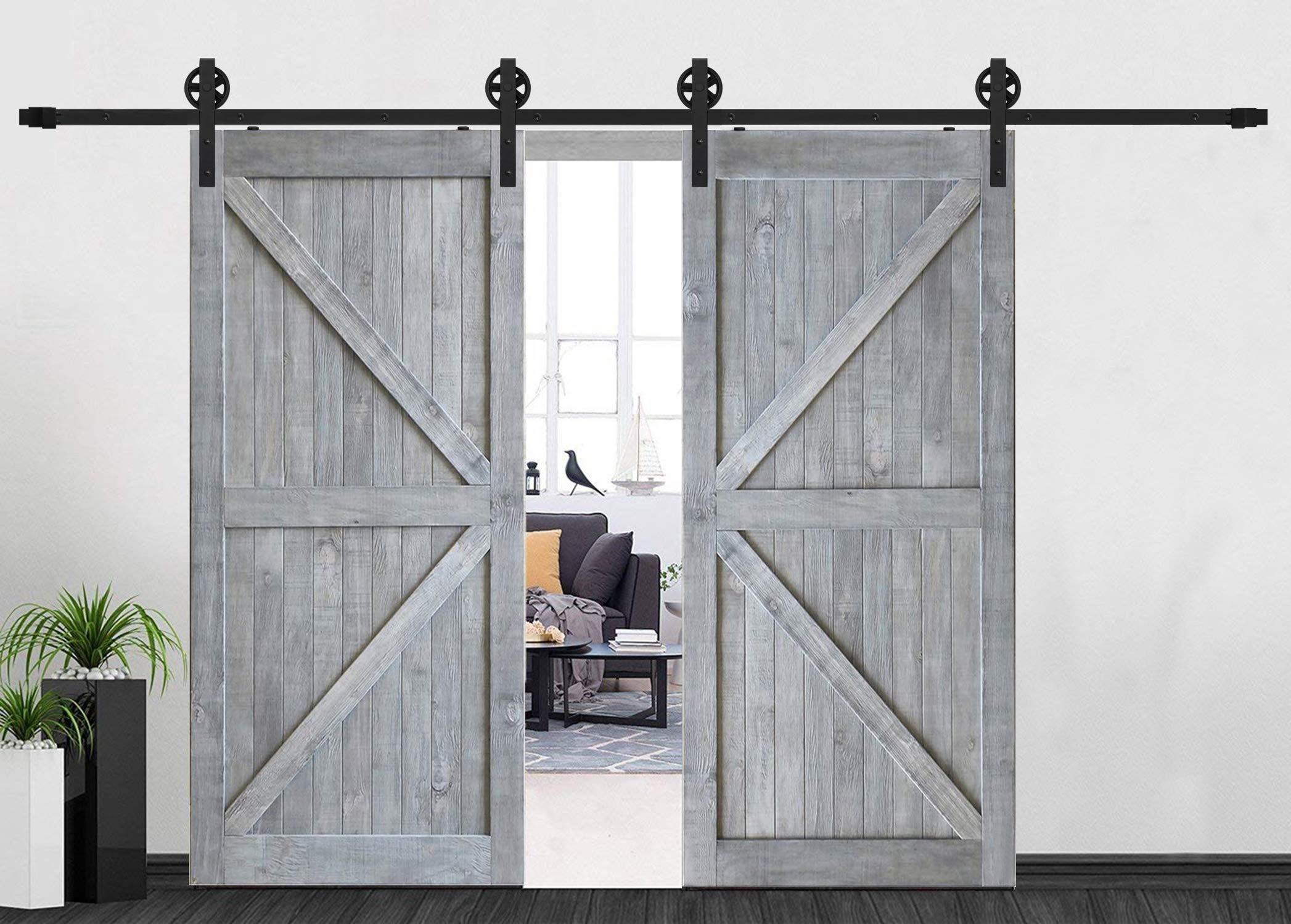 Millones de rodillos de puerta de granero doble sistema de suspensión Big negro diseño de la rueda puerta corrediza de granero pista Kit de Hardware, negro: Amazon.es: Bricolaje y herramientas