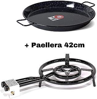 VAELLO Campos Paellera esmaltada 42cm + Q400- Quemadora a Gas 400mm Con Garantia