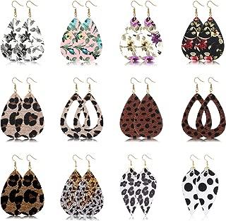 12 Pairs Teardrop Leather Dangle Earrings for Women Girls Lightweight Leopard Print Dangle Earrings Set Fashion Jewelry