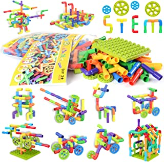 175 Pieces Tube Toy, Sensory Toys, Pipe Building Blocks Stem Toys, Educational Interlocking Construction Engineering Set with Mini Baseplate, Wheels Creative Tube Building Toys for Boys Girls Kids