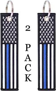 American Flag Keychain Tag with Key Ring and Carabiner - Police Law Enforcement - Keys, Cars, Motorcycles, Backpacks, Luggage, and Gifts - EDC (Thin Blue Line)