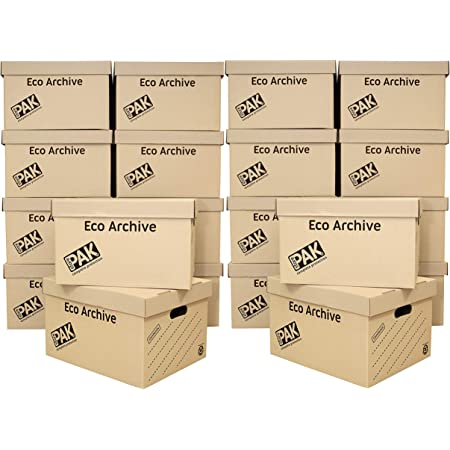 StorePAK Eco Archive Lot de 20 boîtes de rangement en carton avec couvercles – Facile à assembler, rangement à domicile, bureau et déménagement, 33 litres – H 26 x l 34 x P 43 cm