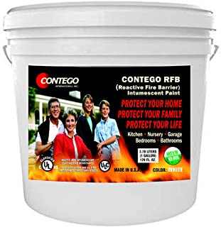 Contego International Inc. Reactive Fire Barrier Latex Intumescent Paint for Home Garages, Nurseries, Bedrooms & Kitchens. No VOCs. Restricts Fire Movement, Reduces Smoke.