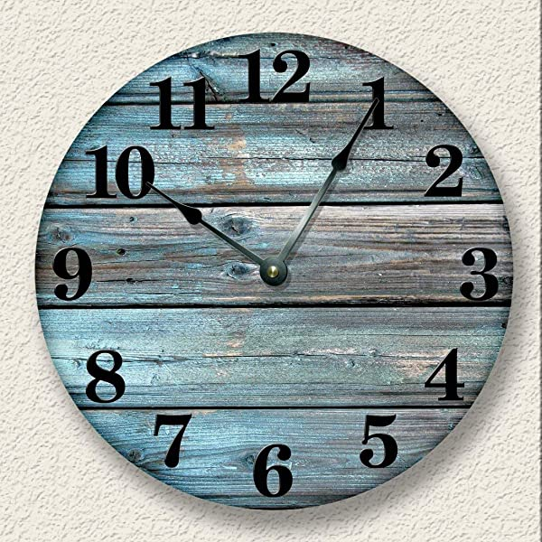 Fancy This Weathered Boards Image Wall Clock Distressed Teal Rustic Cabin Wall Decor