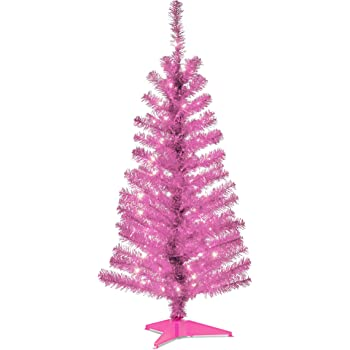 National Tree 4 Foot Pink Tinsel Tree with Plastic Stand and 70 Clear Lights (TT33-306-40)
