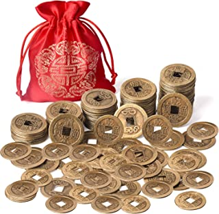 Coopay 240 Pieces Chinese Fortune Coins Feng Shui I-Ching Coins Chinese Good Luck Coins Ancient Chinese Dynasty Time Coin with Red Lucky Pouch