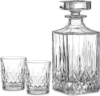 Amisglass Whiskey Karaffe mit 2 Gläsern, Whiskey Set, 3-teilig, Whisky Dekanter 700ml..