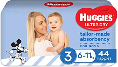 Huggies Ultra Dry Nappies, Boys, Crawler (6-11kg), 44 Count, Size 3, 1.707 kilograms