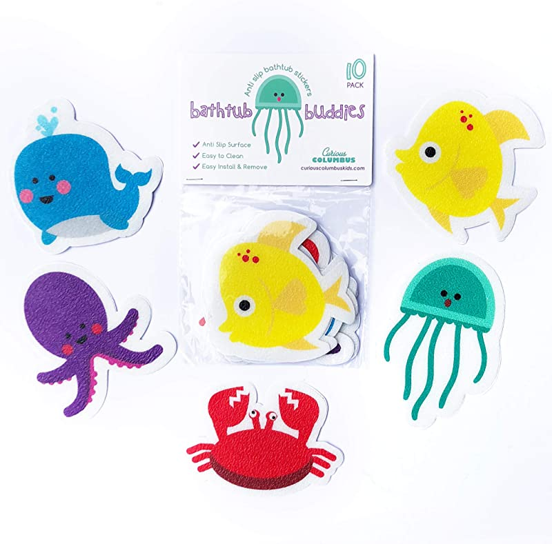 Curious Columbus Non Slip Bathtub Stickers Pack Of 10 Large Sea Creature Decal Treads Best Adhesive Safety Anti Slip Appliques For Bath Tub And Shower Surfaces