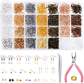 PP OPOUNT 3079 Pieces Earring Making Supplies Kit with Earring Hooks, Jump Rings, Earring Post, Earring Back, Pliers, Twee...