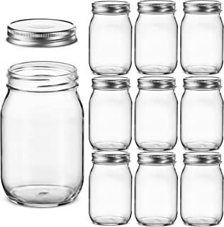 Glass Regular Mouth Mason Jars, 16 Ounce Glass Jars with Silver Metal Airtight Lids for Meal Prep, Food Storage, Canning, ...
