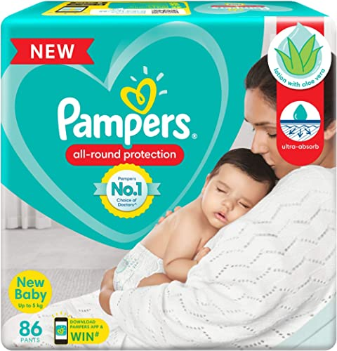 Pampers All round Protection Pants, New Born, Extra Small size baby diapers (NB,XS) 86 Count, Lotion with Aloe Vera