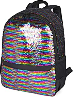 Flip Sequin Backpack for Girls Reversible Sequin Sequence School Backpack for Kids Mermaid Glitter Sparkly Lightweight Schoolbag (Black)