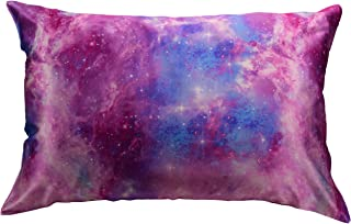 Celestial Silk 100% Pure Mulberry Silk Pillowcase Premium 25 Momme for Hair and Skin, Hypoallergenic Charmeuse Silk Weave on Both Sides - Hidden Zipper Closure (King, Pink Galaxy)