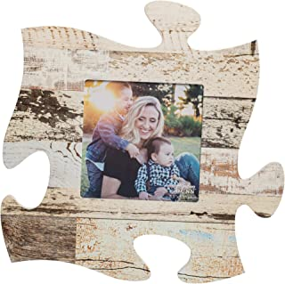 P. Graham Dunn White Multicolor Distressed Wood Look 12 x 12 Wall Hanging Wood Puzzle Piece Photo Frame