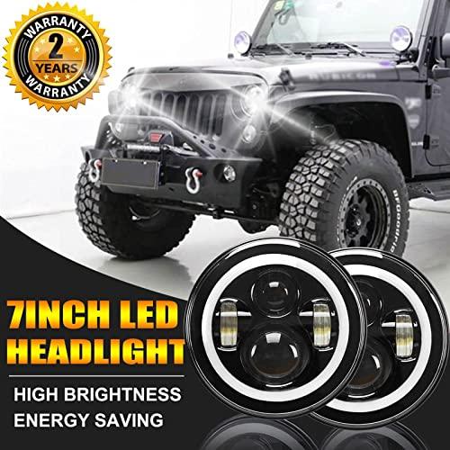 """discount Pair 7"""" LED Round Lights Halo Angel Eyes DRL High Low Beam Chrome H6024 Headlights for 97-17 Jeep Wrangler JK new arrival TJ YJ CJ LJ Waterproof IP67 with sale H4 to H13 Adapters Decoders, 2 Year Warranty online"""
