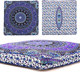 Third Eye Export Indian Mandala Floor Pillow Square Ottoman Pouf Daybed Oversized Cushion Cover Cotton Seating Ottoman Poufs Dog/Pets Bed (White Cover Only)