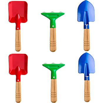 "Delphinus Kids Gardening Tools Set, 6pcs Gardening Tools for Kids Metal with Sturdy Wooden Handle Safe Gardening Tools 8"" Long Gardening Tools"