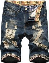 Liuhond Men's Casual Denim Ripped Mid Waist Distressed Jeans Shorts Hole Cut-Off Short Dark Blue