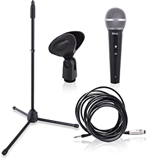 Professional Handheld Dynamic Microphone Kit - Unidirectional Vocal Wired Microphone w/Carry Bag, Metal Mic Stand, Holder/Clip & 16.4ft XLR Audio Cable to 1/4'' Audio Connection - Pyle PDMIC88ST