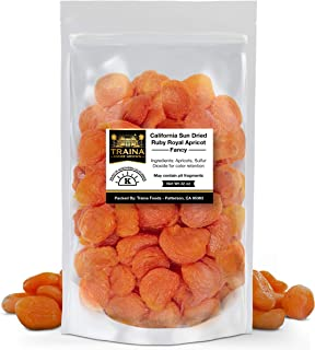 Traina Home Grown California Sun Dried Fancy Ruby Royal Apricots - No Sugar Added, Non GMO, Gluten Free, Kosher Certified, Vegan, Packed in Resealable Pouch (2 lbs)