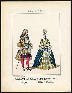 Antique Print-FRANCE-KING LOUIS XIV-MARQUISE DE MAINTENON-COSTUME-Schneider-1844