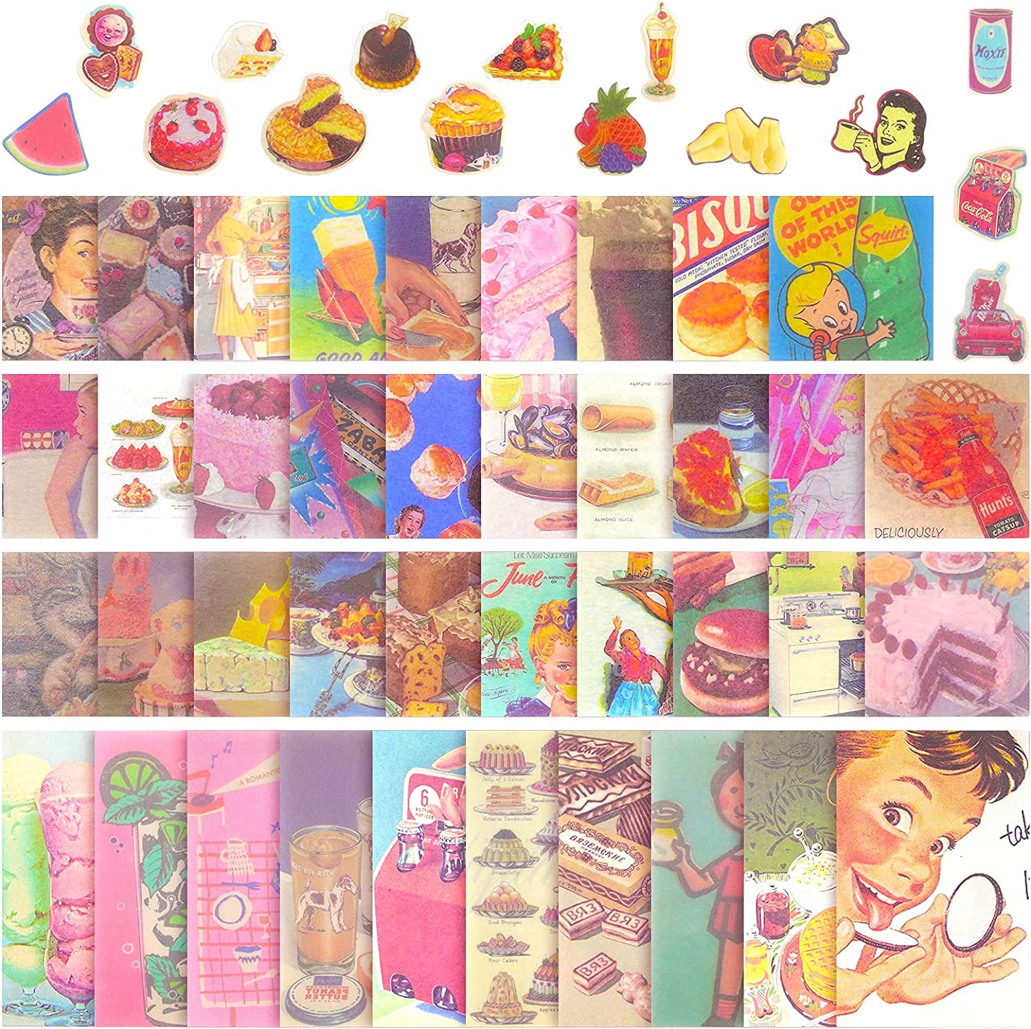 55 Pieces Vintage Food Scrapbook Stickers Vintage Scrapbook Stickers Pack Self Adhesive Paper Decals Food Ice Cream Cake Aesthetic Stickers for Arts Diary Journal Scrapbooking DIY Crafts Decoration